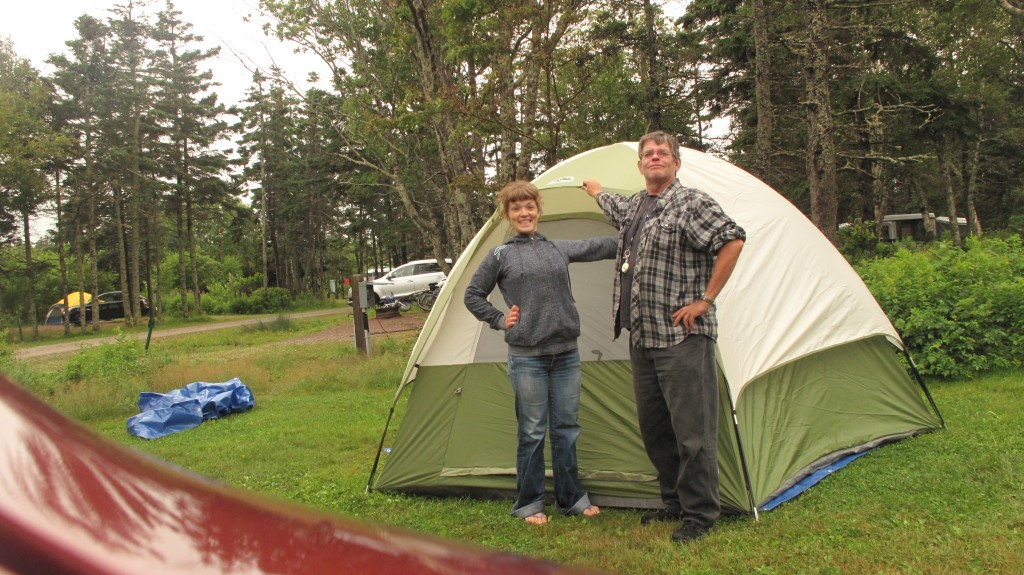 A picture of Gord Lovelace and daughter Sam in front of the tent that they successfully put up in PEI.